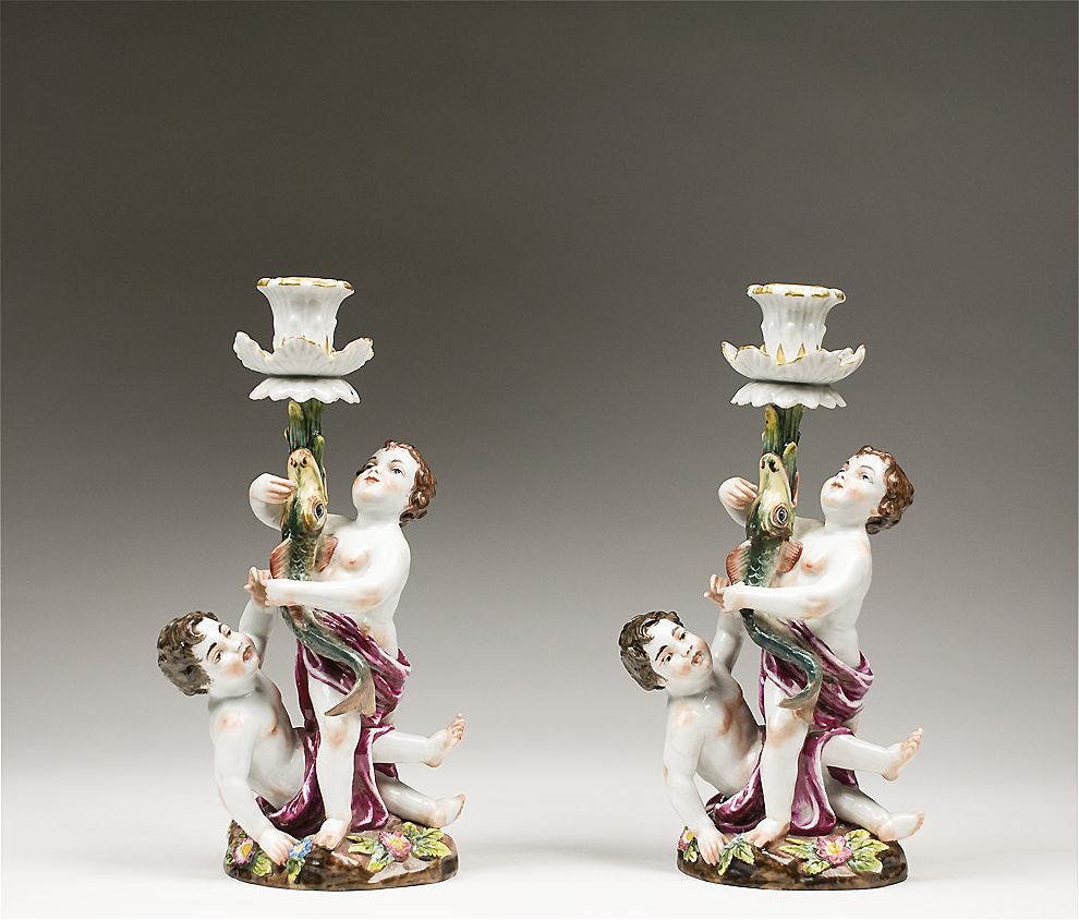 Royal Naples Capodimonte 19th c. porcelain Candlesticks