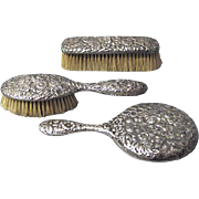Gorham Repousse Sterling Silver Mirror and Brush Set