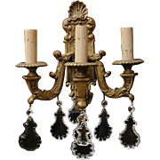 Pr. 19th C. Bronze Baroque Three Arm Wall Sconces Hung With Pendalogues
