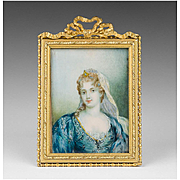 Early 19th C. French Miniature Watercolor Portrait of Young Woman in Lace Veil