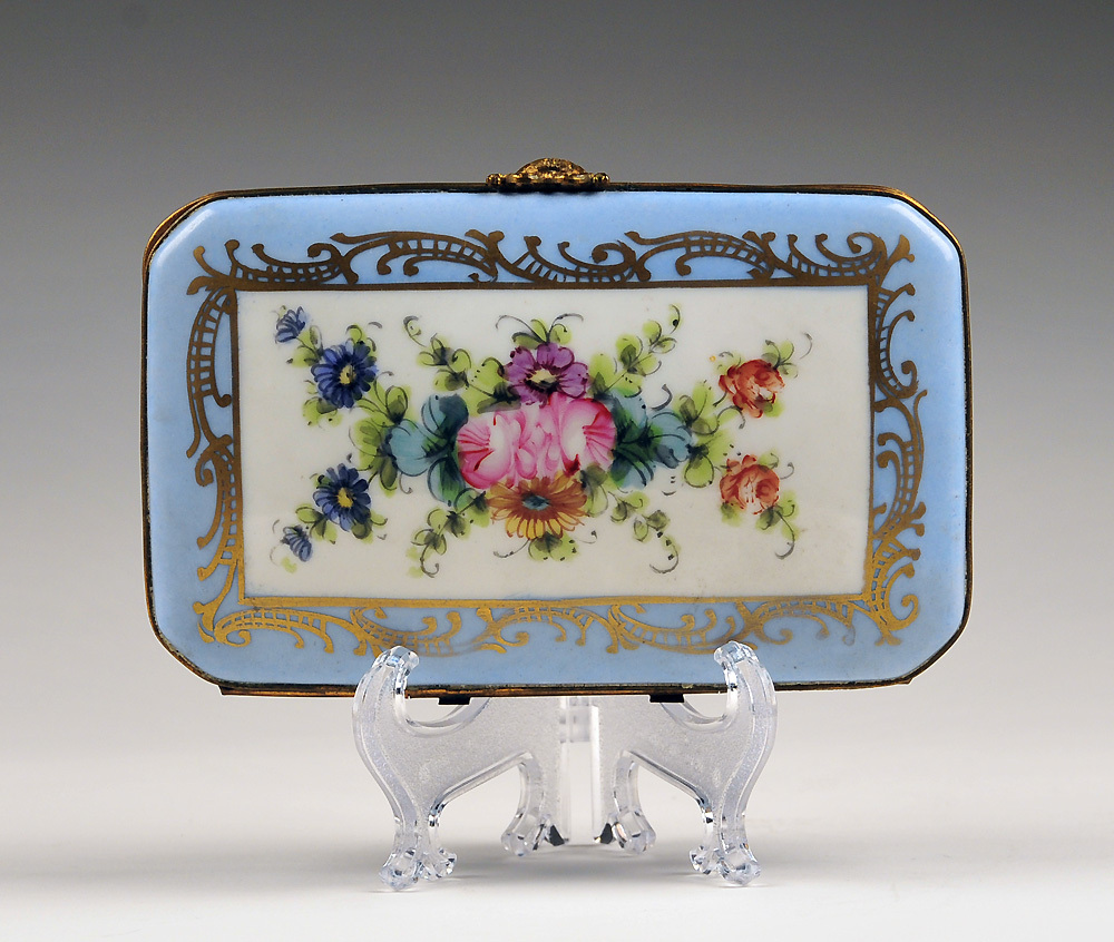 Blue Paris Porcelain Floral Hand Painted Box