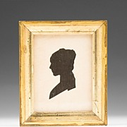American 19th C. Hollow Cut Silhouette of Young Woman