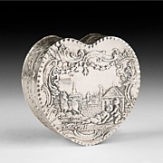 Late 19th C. Dutch Embossed Silver Heart Shaped Trinket Box