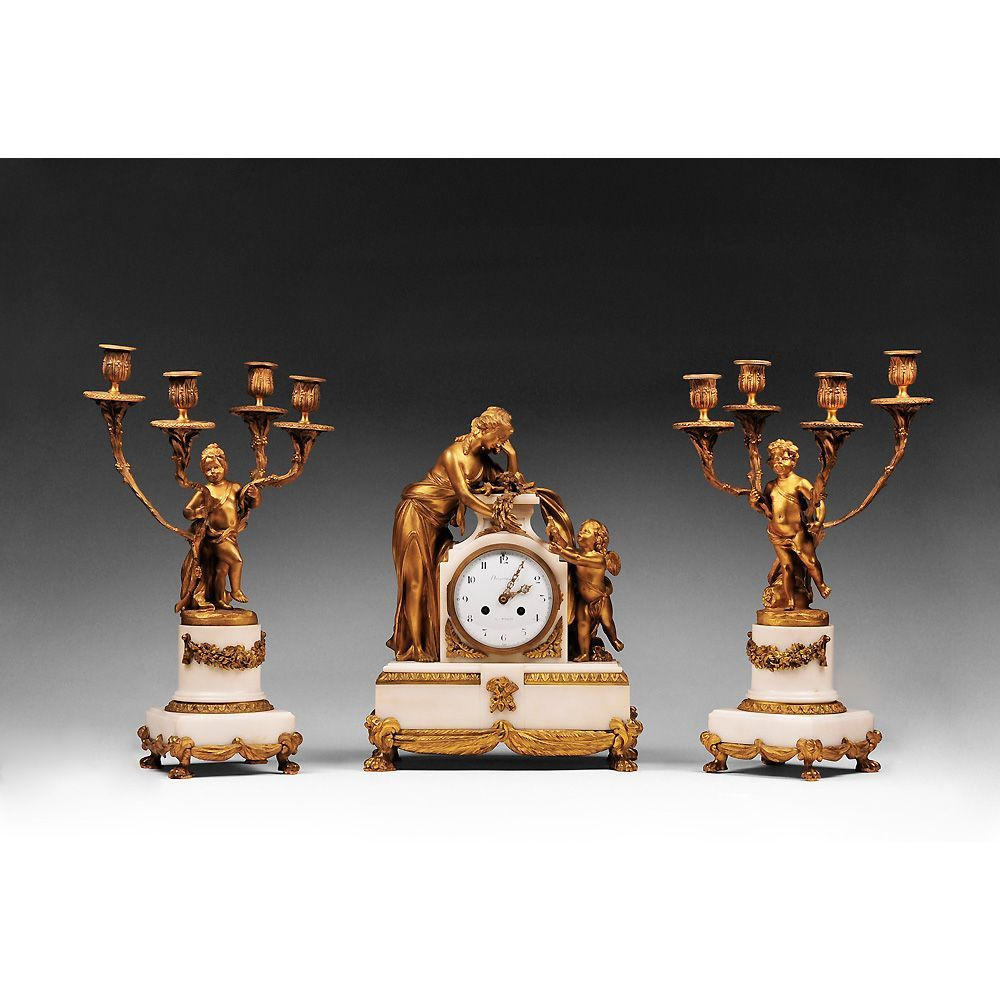 Vincenti & Cie Marble and Bronze Mantel Clock Garniture, 1855