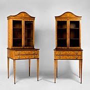 Pair of Matching 19th C. Edwardian Satinwood Inlaid Display Cabinets