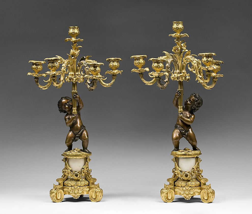 Pair of French Rococo Louis XV Patinated Dore Bronze Candelabras