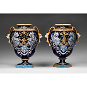 Pair of 19th C. Ulysse Blois French Faience Vases, Signed by Balon