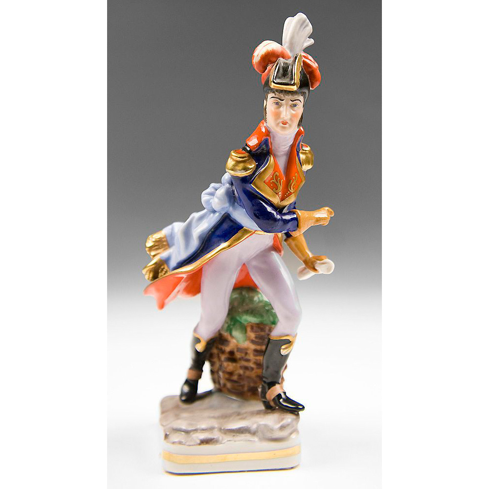 Voigt Brothers Sitzendorf Porcelain Figurine of General Lafayette