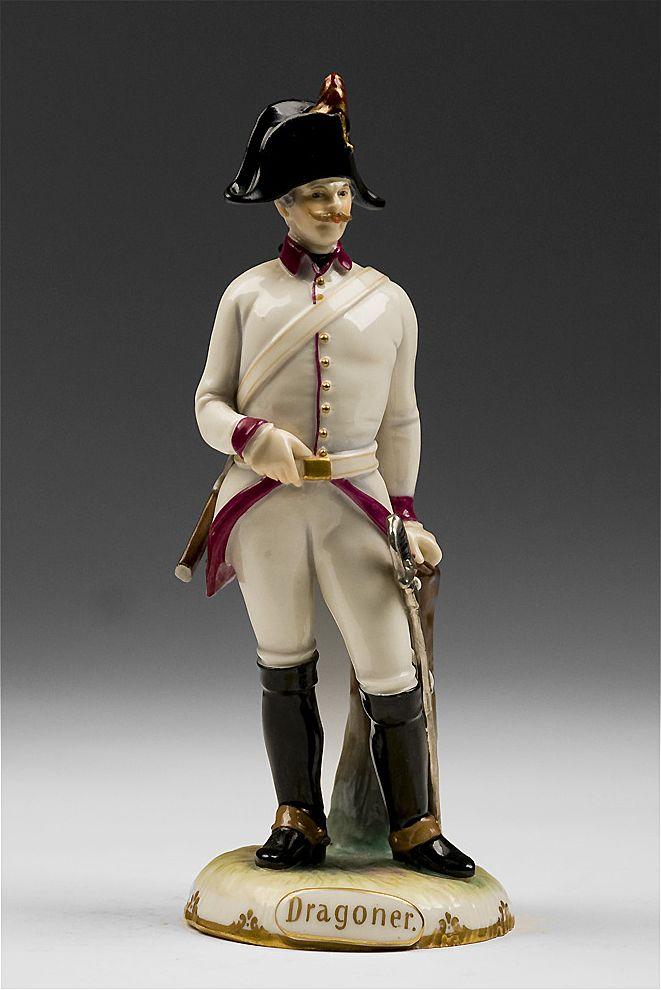 Ernst Wahliss Bohemian Porcelain Figurine of Dragoner Soldier, 1790