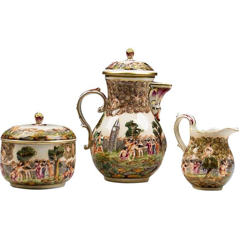 German Porcelain Rudolstadt Capodimonte Style Tea Set From