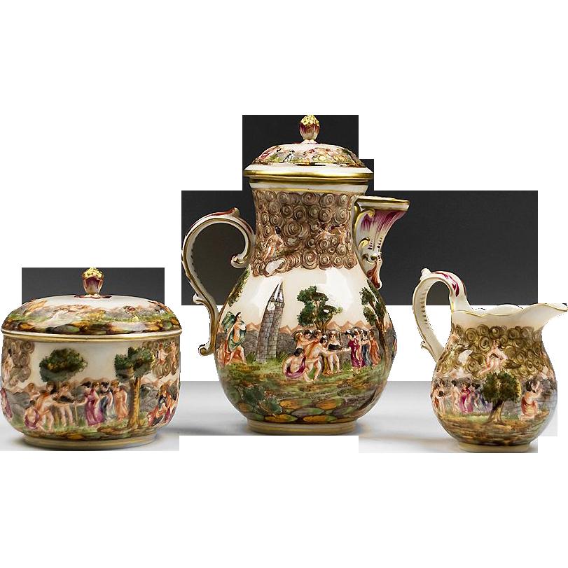 German Porcelain Rudolstadt Capodimonte Style Tea Set