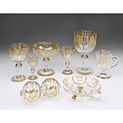 74 Piece Matched Set of Moser Glassware With Raised Gilt Enamel