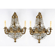 Pair of Art Nouveau French Ormolu And Crystal Demilune Shaped Sconces