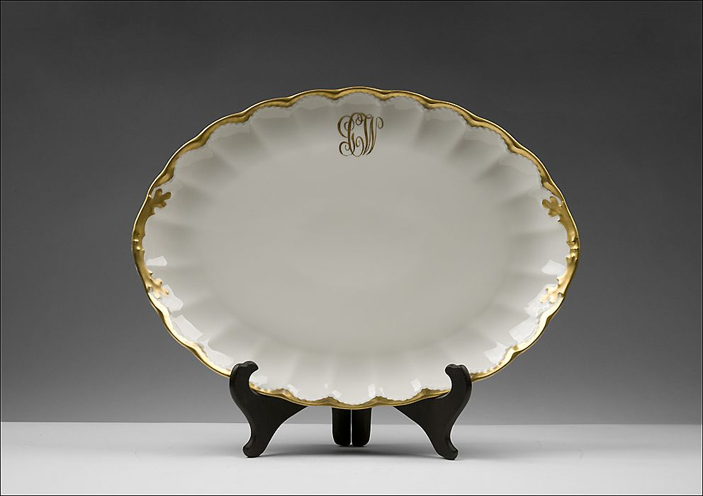 Limoges Monogrammed Lobed Platter With Gilt Border