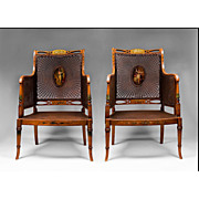 Matched Pair of George III Painted Satinwood Armchairs