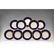 Coalport Cobalt Gilt Luncheon Plates (10)