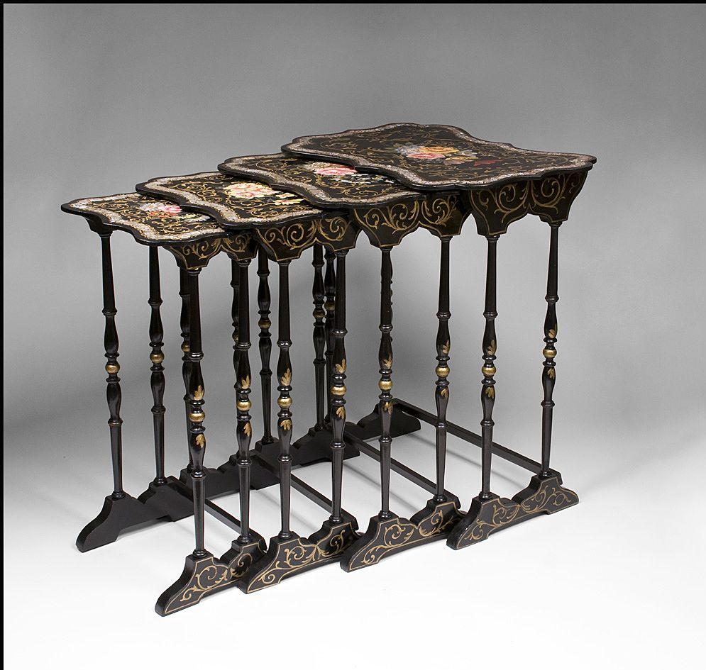 English victorian papier mache lacquer nesting tables for Paper mache furniture ideas