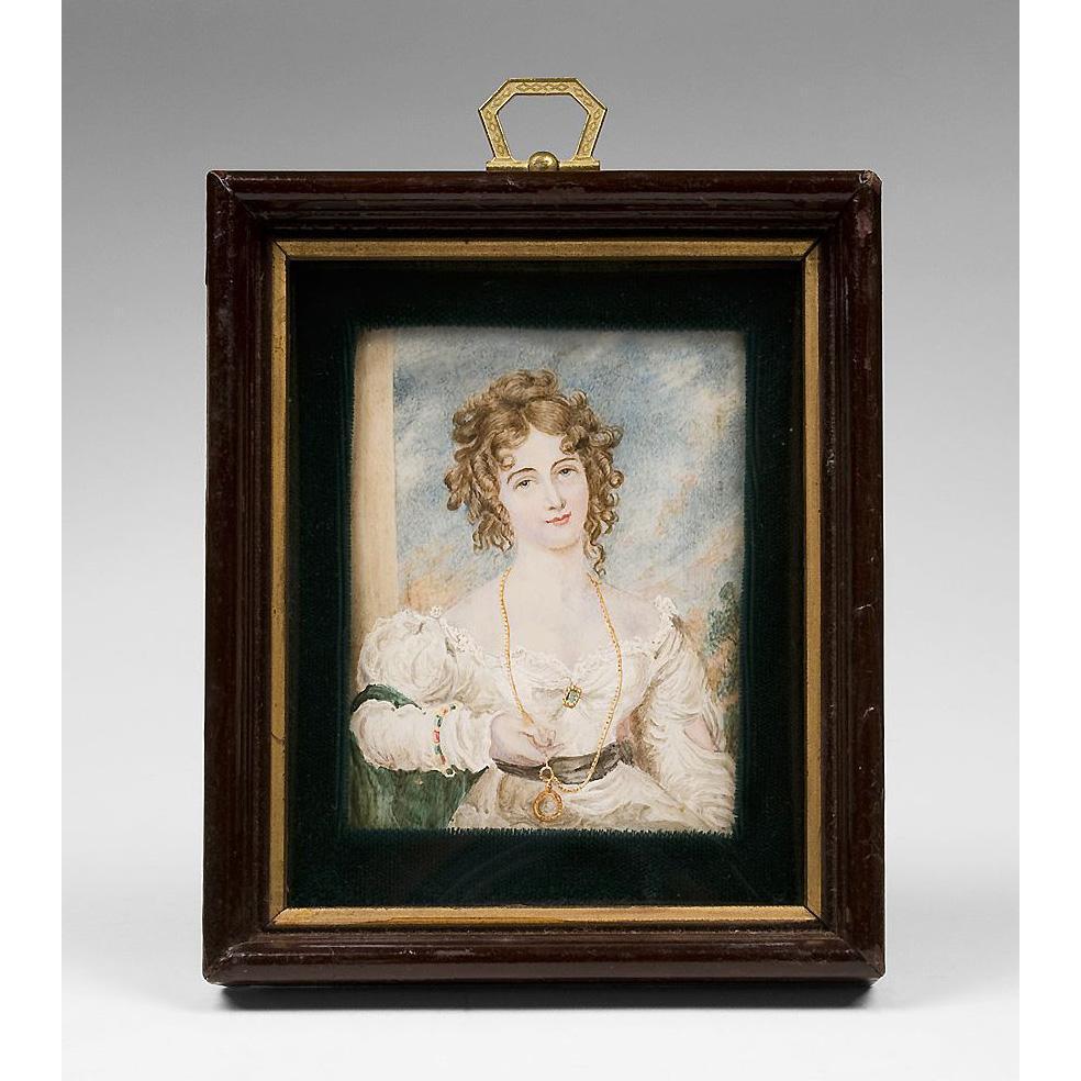 19th C. Miniature Watercolor Portrait of Maiden