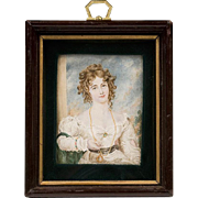 19th C. Miniature Watercolor Portrait of Maiden