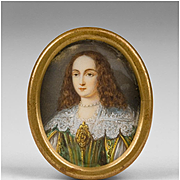 18th C. Miniature Watercolor Oval Portrait Of Young Maiden