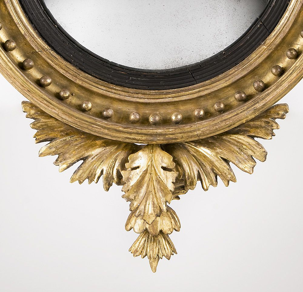 Regency Giltwood Bullseye Convex Mirror Mounted With