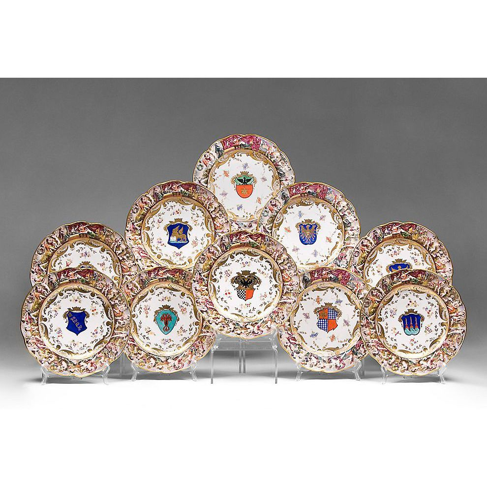 Set of 10 Porcelain Heraldic Capodimonte Style Service Plates
