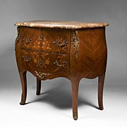 19th C. Louis XV Floral Inlaid Marble Top Commode