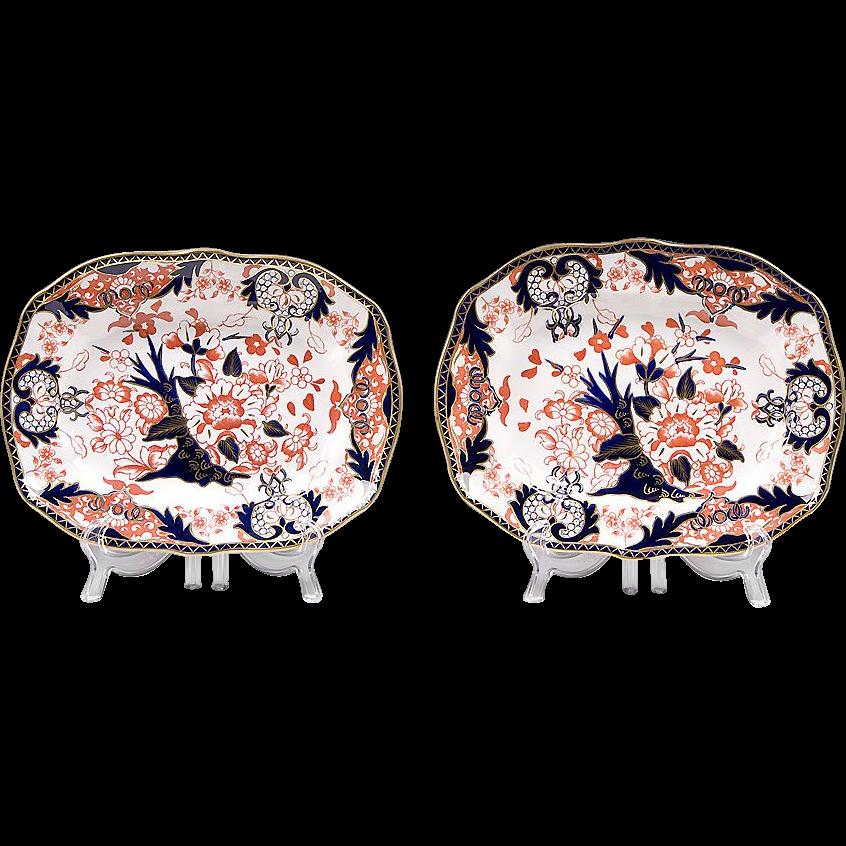 Pr. Of Royal Crown Derby Kings Pattern Platters