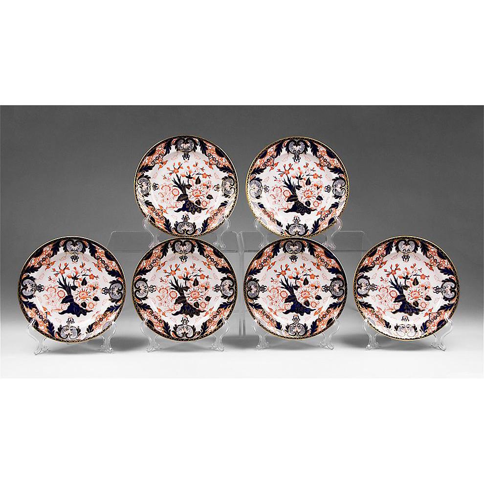 Set of Six Royal Crown Derby King's Pattern Dessert Plates