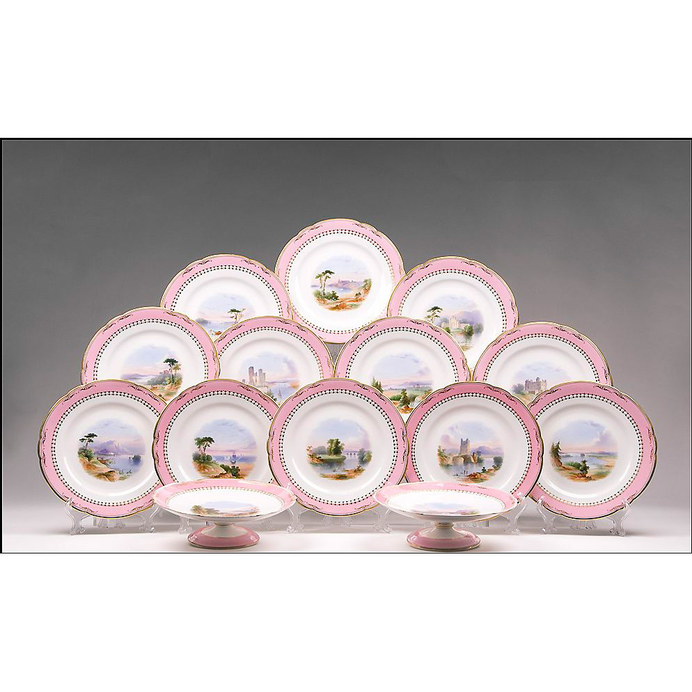 19th C. Minton Hand Painted Scenic 14 Piece Dessert Set