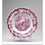 American Historical Staffordshire Purple Transferware Bowl by Joseph Heath & Co., 1835
