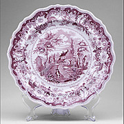 American Historical Staffordshire Purple Transferware Plate by Joseph Heath & Co., 1835