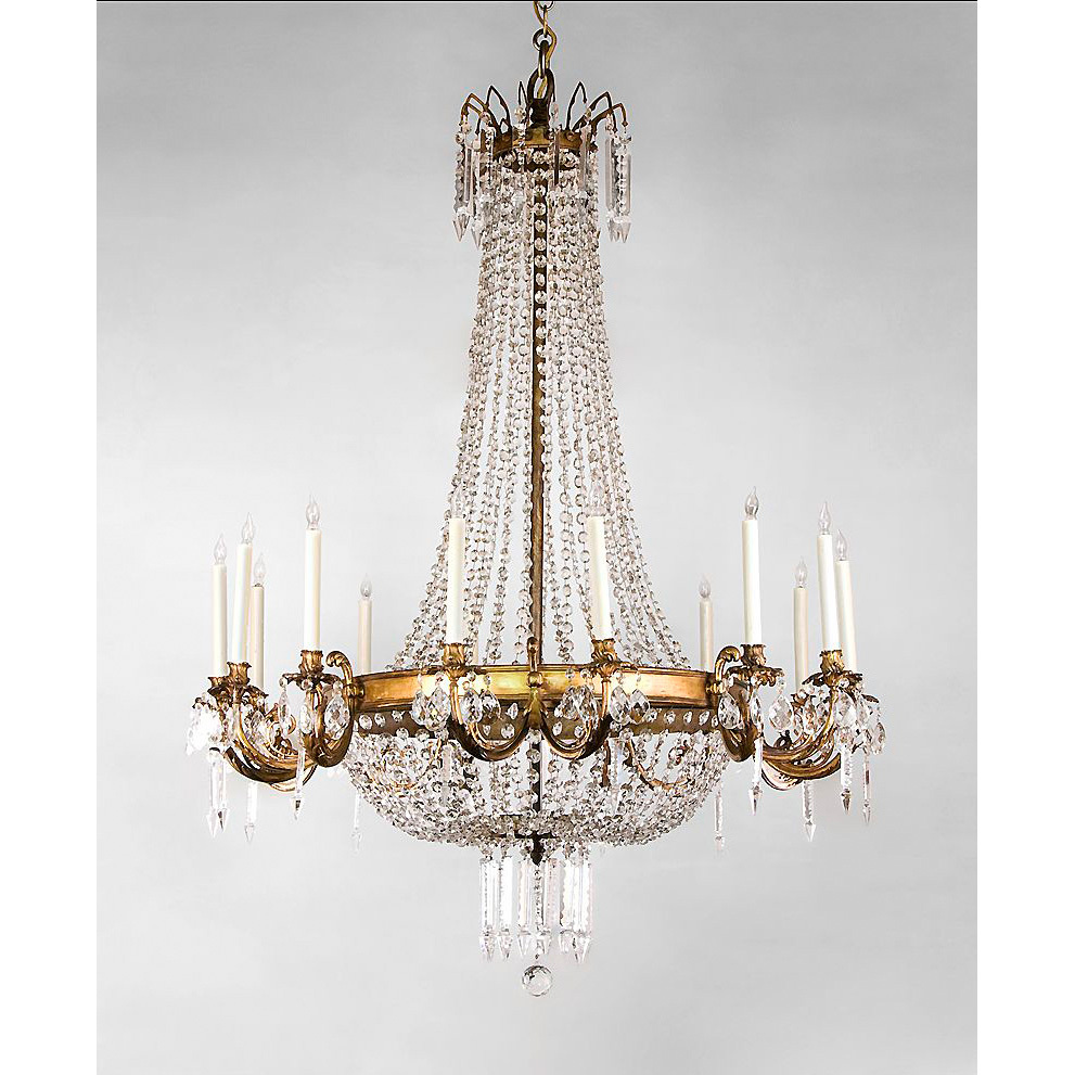 French Regency Style 14 Light Ormolu And Crystal