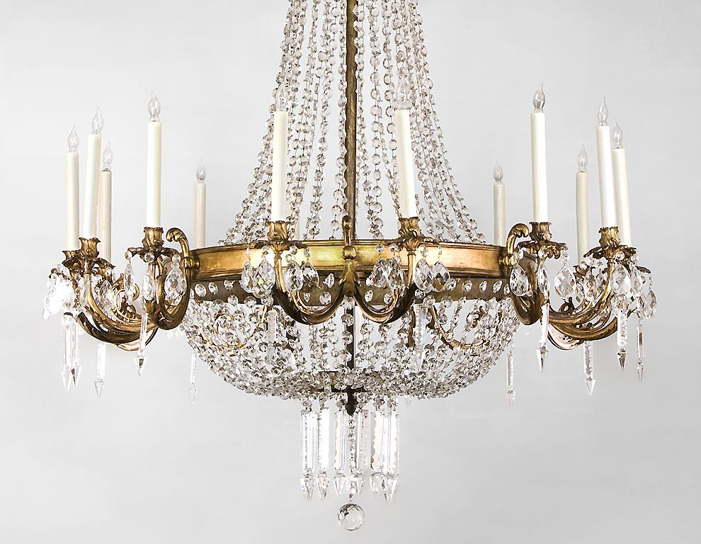 French Regency Style 14 Light Ormolu And Crystal Chandelier from ...:Roll over Large image to magnify, click Large image to zoom,Lighting