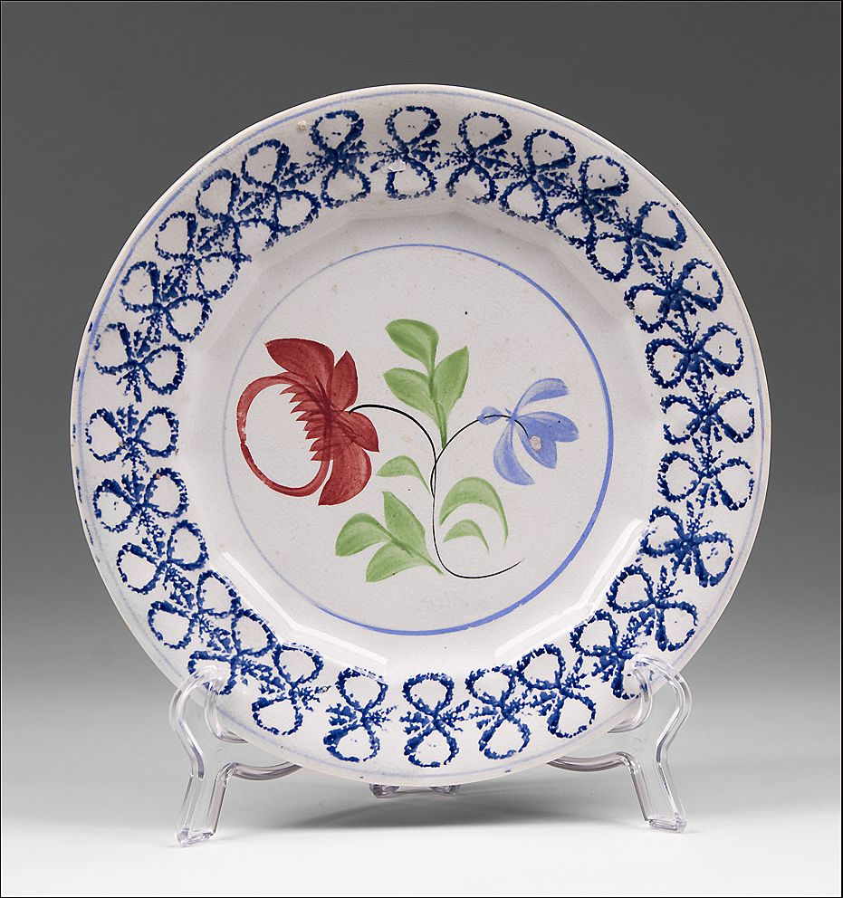 Adams Rose Design Splatter Plate With Blue Bow Knot Border