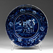 Dark Blue Historical Transferware Clews Plate, The Meeting of Sancho And Dapple