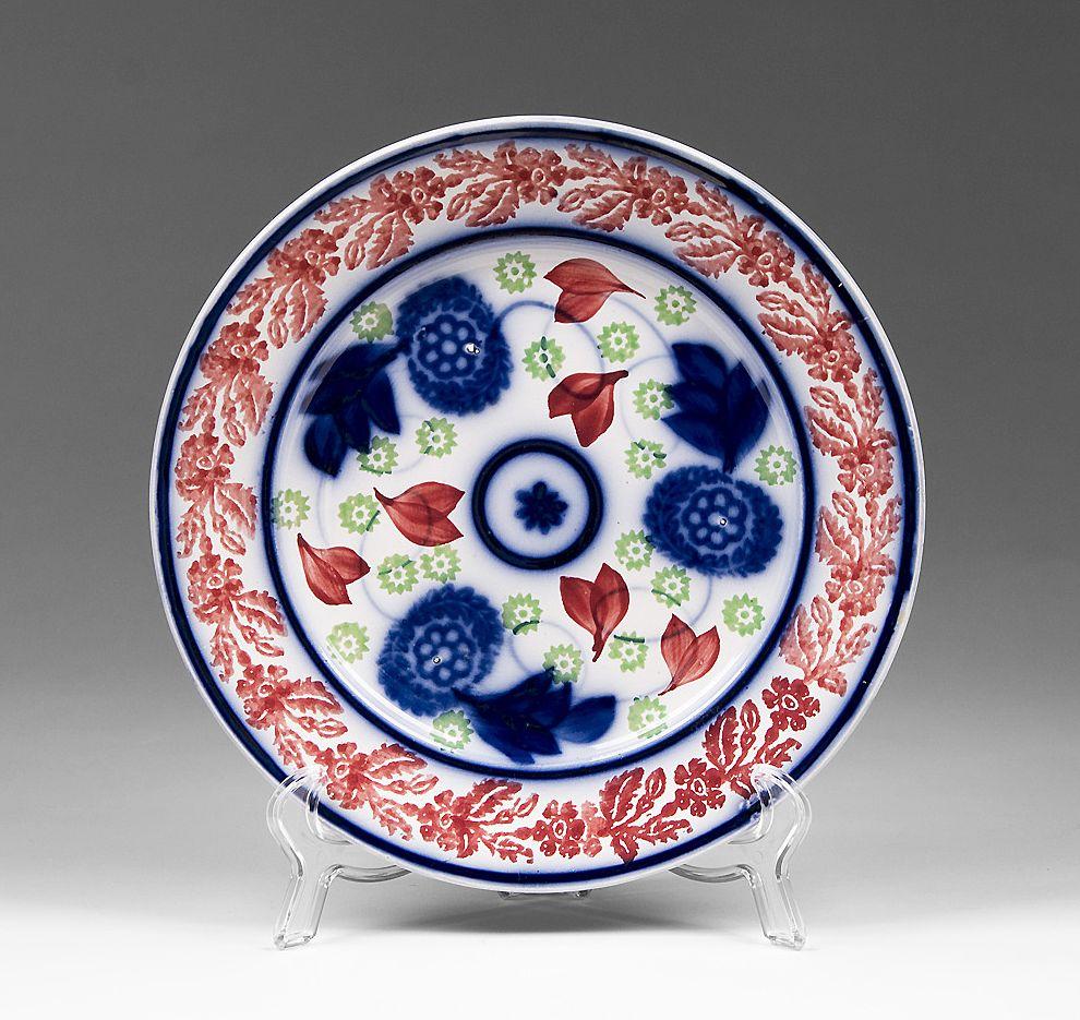 19th C. Bullseye Flow Blue Cut Spongeware Stick Spatter Plate