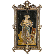 1880 Robert Herman Bichweiler Earthenware Glazed Tile In Bronze Frame