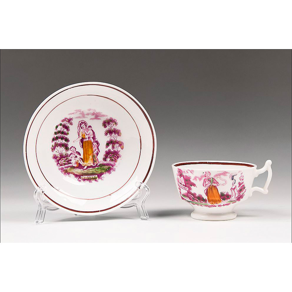 1840 Staffordshire Pink Lustre Temperance Cup & Saucer