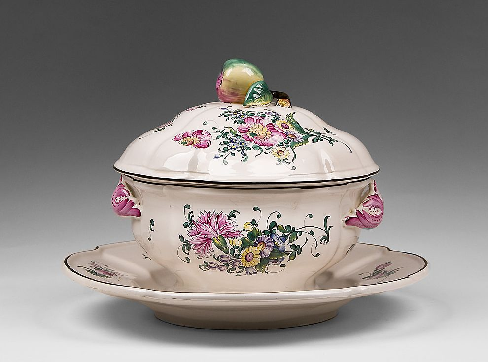 Early 20th C. French Faience Tureen and Underplate