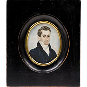 Early 19th C. Miniature Watercolor Portrait of Gentleman