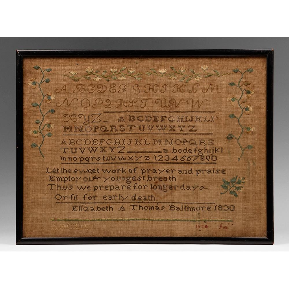 American Schoolgirl Linen Needlework Sampler, 1830