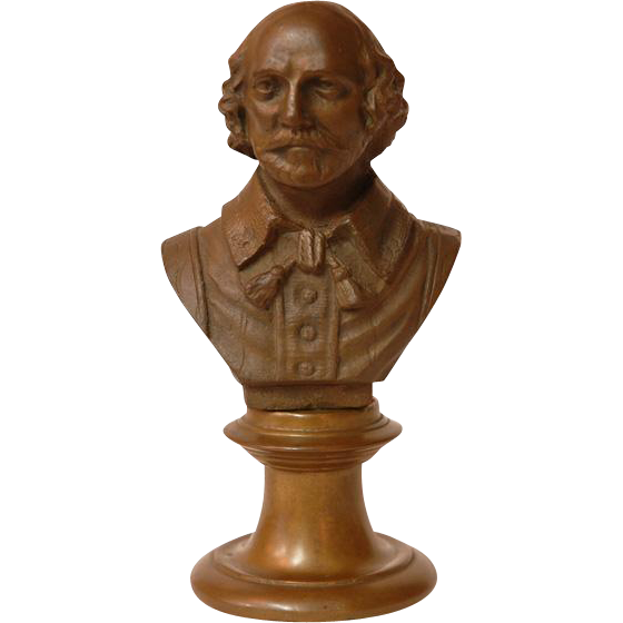 19th C. Bronze Bust of Shakespeare on Pedestal