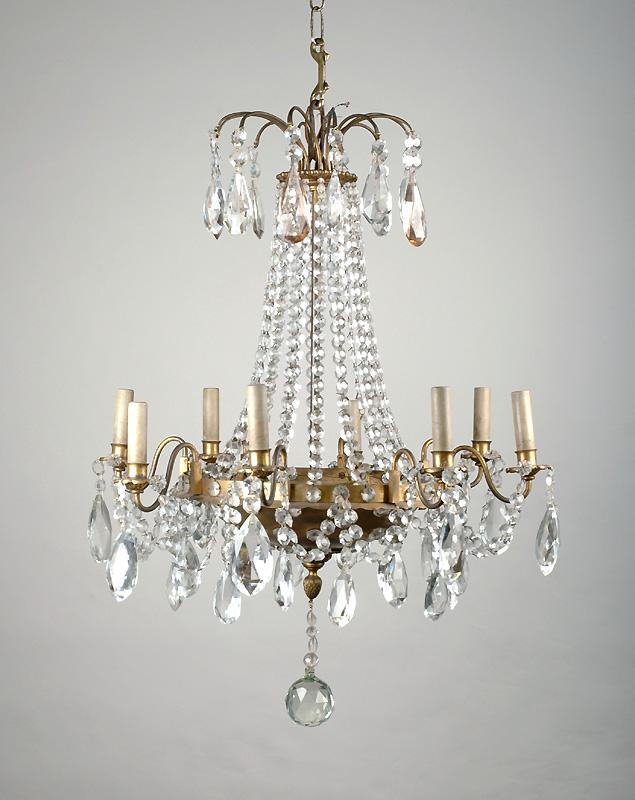 8 Light Crystal Chandelier: 8 Light Tiered French Crystal Chandelier, Maison Jansen,Lighting