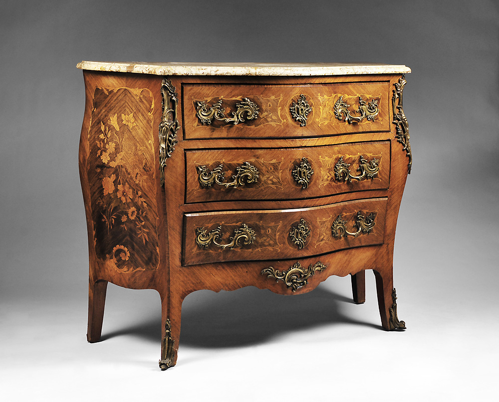 19th c french louis xv floral marquetry commode from. Black Bedroom Furniture Sets. Home Design Ideas