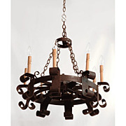 19th C. French Hand Forged Iron Chandelier