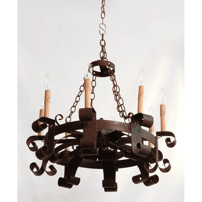 19th C French Hand Forged Iron Chandelier From Piatik On