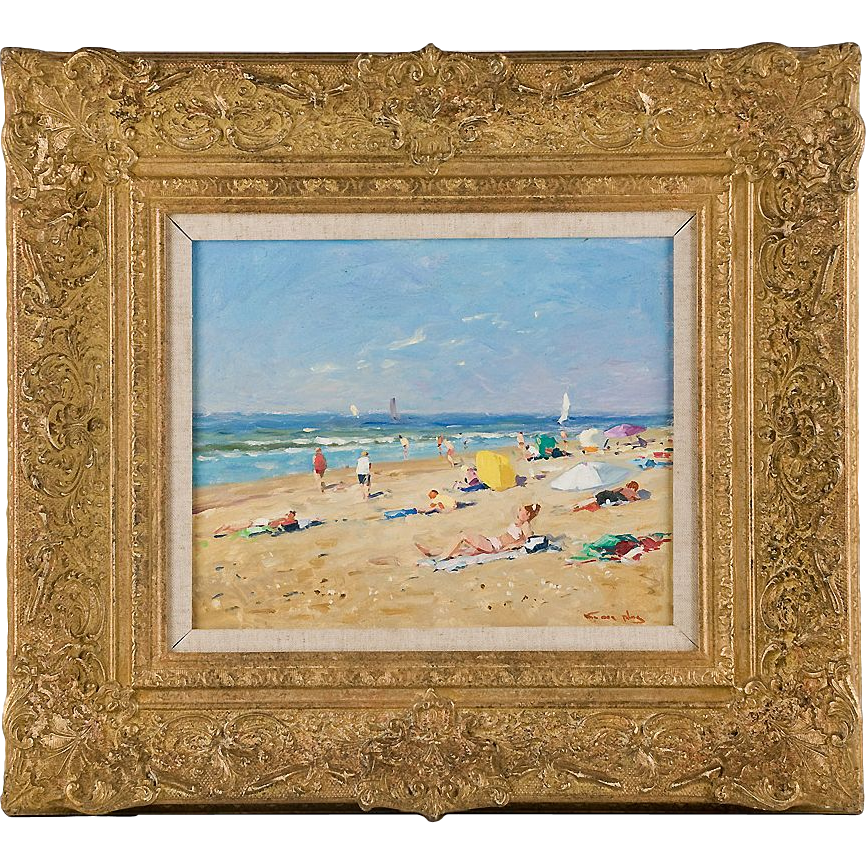 Original Oil on Panel, Niek Van Der Plas (1954), Seaside