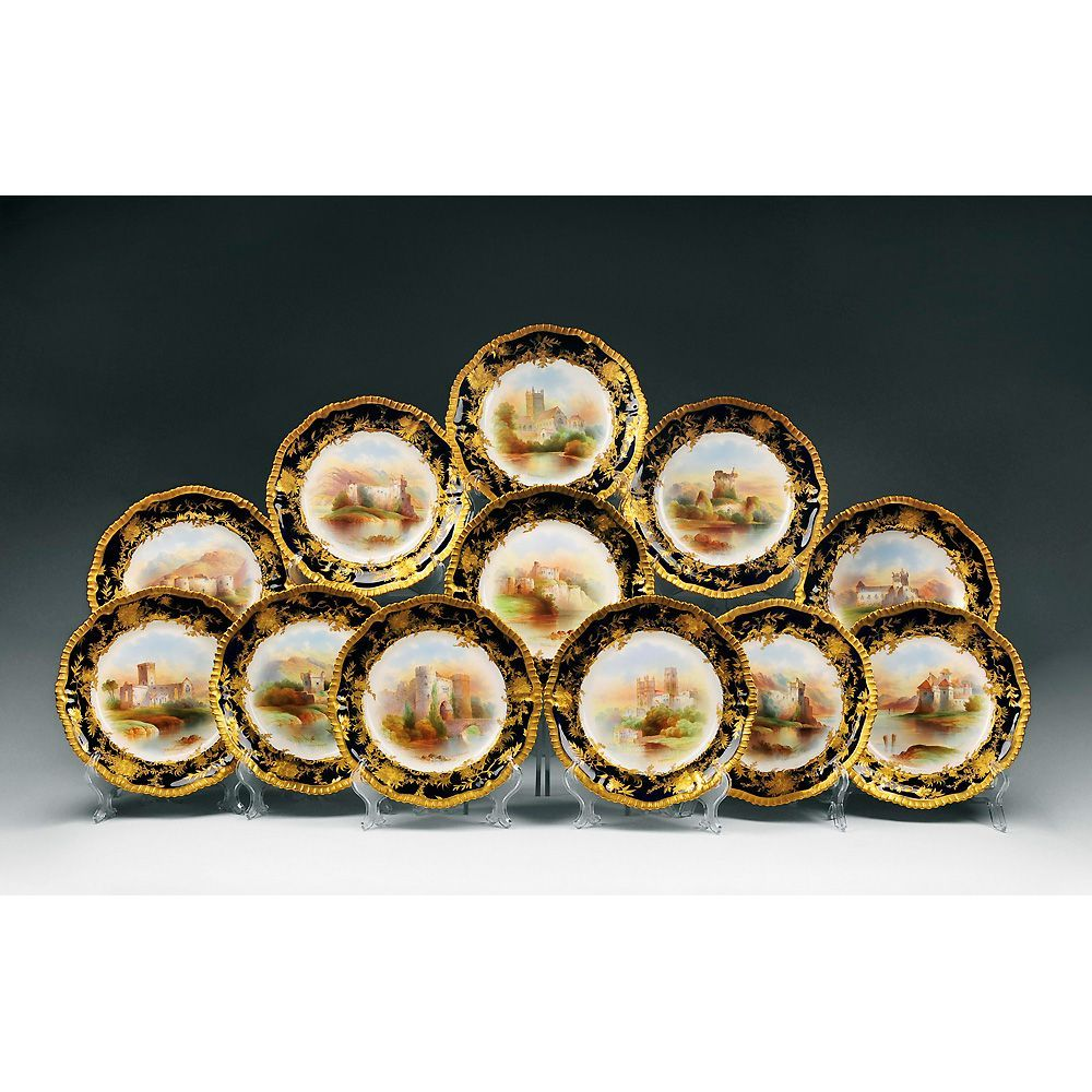 Set of 12 Hand Painted Named Scene Staffordshire 19th C. Plates