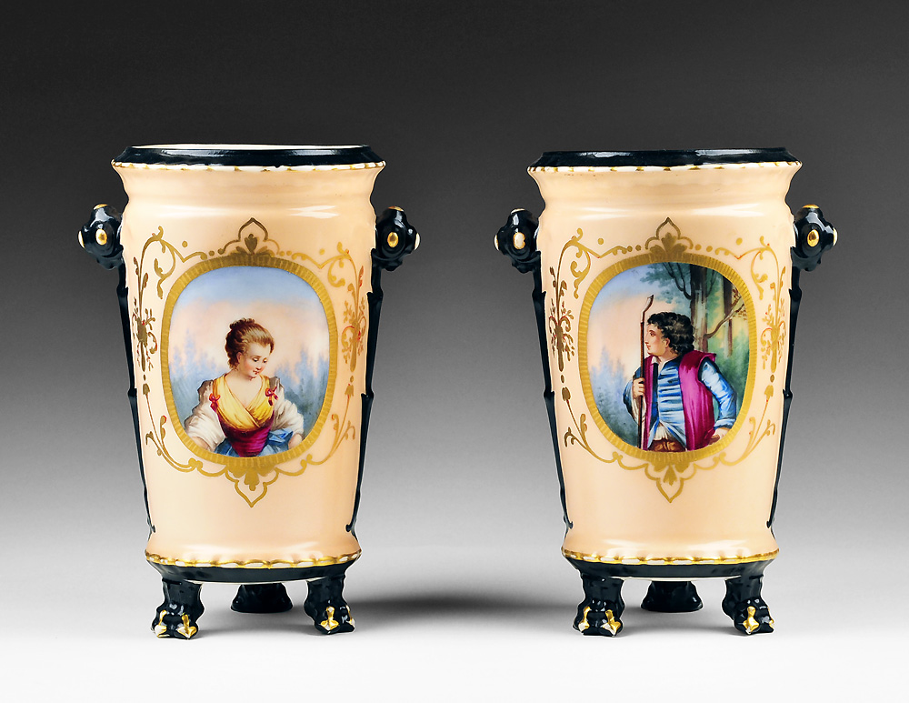 19th C. Pair of Hand Painted Old Paris Vases